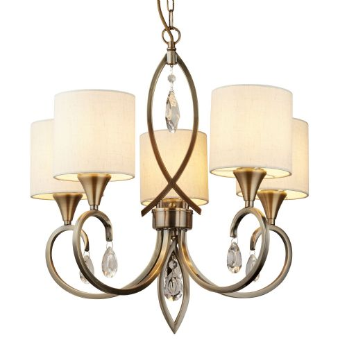 Alberto 5 Light Pendant, Antique Brass, Clear Crystal Drops, Linen Shades 1605-5Ab